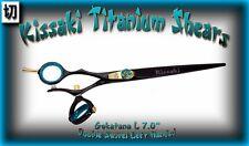 "Kissaki Left Hand Hair Scissors 7.0"" Gokatana L Black Blue DOUBLE SWIVEL Shears"
