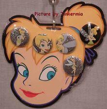 PINS 5 TINKERBELL GLITTER BUTTONS TINKER BELL FACE TINK