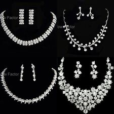 Rhinestone Diamante Crystal Silver Tone Necklace Earrings Jewellery Set Gift Box