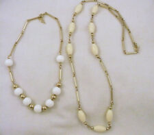 2 retro signed Sarah Coventry beaded necklace gold white & winter white beads