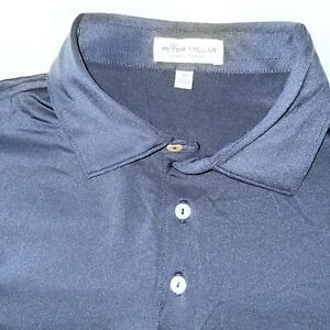 Peter Millar MEDIUM NAVY BLUE Summer Comfort Long Sleeve GOLF Polo