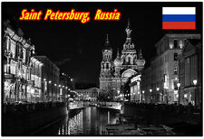ST PETERSBURG, RUSSIA - SOUVENIR NOVELTY FRIDGE MAGNET, SIGHTS / FLAGS / GIFTS
