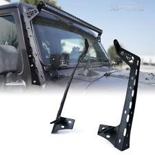 """For Jeep Wrangler Windshield 50"""" LED Light Bar Mount Bracket w/ Spotlight Holder"""