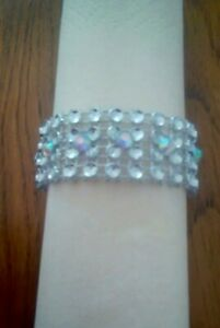 50 Silver Diamante mesh napkin rings with AB rhinestones for Christmas &Weddings