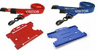 Visitor Lanyard Red or Blue Plastic Clip & Open Faced ID Card Holder Lot
