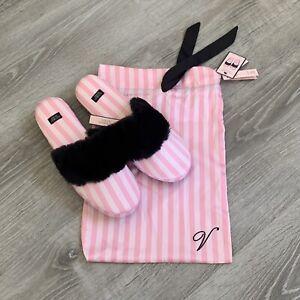 NWT Victoria's Secret Satin Fur Striped Slide Slippers Womens Size Medium 7-8