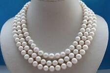 "3rows 19"" Genuine Natural 10mm White Round Pearl Necklace #f1756!"