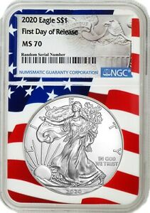 2020 $1 1 oz Silver American Eagle NGC MS70 First Day Of Issue Flag Core Holder