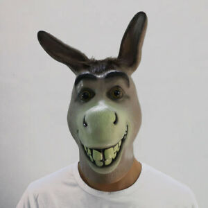 Halloween Donkey Head Mask Latex Animal Cosplay Party Costume Adult Size Hot