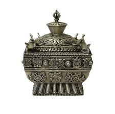 Chinese Tibetan Silver Color Square Shape Incense Burner Display cs3394