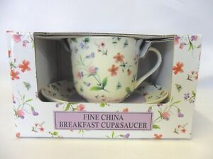 Gift boxed jumbo cup and saucer in Spring Blossom design