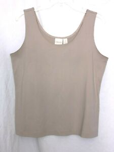 Chico's Taupe  Microfiber Smooth Top Size 2 beige M L Tank Shirt