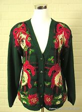 Tiara Green Ugly Christmas Sweater Sz Petite Large Big Ornaments Embellished
