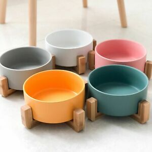 Ceramic Elevated Cat Bowl Wood Stand No Spill Pet Cats Food Water Feeder Bowls