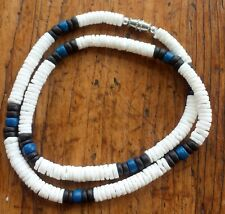 White Puka Shell Beach Surfer Necklace 18 inch Black & Blue Accent Beads