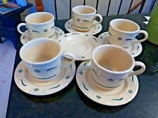 Longaberger 11 piece  pottery cups / saucers lot Heritage Green accents - FS