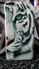 ★★★ Coque Plastique Rigide Apple IPHONE 4 - TIGRE Blanc TIGER Félin ★★★