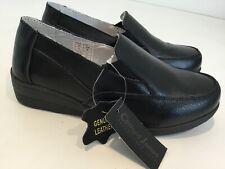 Bnwt Womens Clifford James Black Leather Slip On Shoes Flats Uk3 Smart Casual