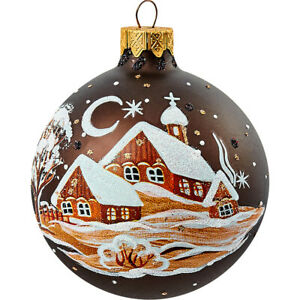 Snowy Houses Brown Christmas Glass Ornament Russian Handblown New Years Decor