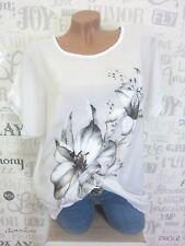 ITALY Sommer Bluse Tunika Shirt Silberne Blumen OVERSIZE 38 40 42 44 Weiß E92