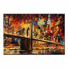 FRAMED Abstract Oil Painting CANVAS PRINT Poster Bridge Picture Wall Art Decor