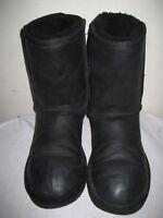 UGG Australia 1005093 Women's Classic Short Black Leather Boots Size 37 / 6