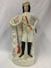 "Victorian Staffordshire Flatback Figurine Man With Rifle & Game Birds H15 1/2"""