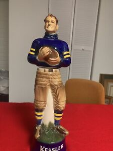"""Kessler Whiskey Decanter """"The Football Player"""" Vintage 1980 Michigan Wolverines"""