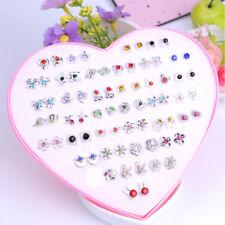 1~36 Pairs Fashion Women Girls Crystal Diamante Flower Stud Earrings Jewelry Set