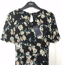 M&S Marks s10 Reg Med Ladies Black Mix Floral Print Tea Dress Retro Holiday BNWT