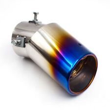 Top Slant Burnt Titanium Curved Car S.S Exhaust Tail Pipes Muffler Tips Accurate