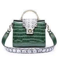 Ladies Women Real Genuine Leather Crocodile Shoulder Bag Tote Handbag Purse Hi-Q