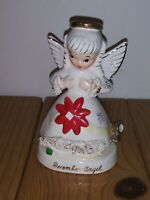 December Angel Vintage Ceramic Figurine NAPCO Japan A1372 Gold Halo & Trim