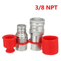 """3/8"""" Flat Face Hydraulic Quick Connect Coupler Coupling Set 45# Carbon Stee"""