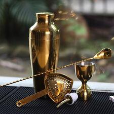 Golden Bar Tools 5Pcs Set Cocktail Shaker Mixing Spoon Measuring Jigger Strainer