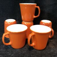 Lot 6 Vtg Pyrex Burnt Orange Coffee Cup Mug USA Retro D Handle Mod USA