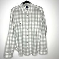 Gap Size Large Gray White Gingham Button Down Shirt Long Sleeve