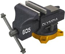 OLYMPIA 5In Bench Vise Hardened Steel Replaceable Polished Anvil Horn Lock Lever