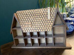 Vintage Handmade Cottage House Shaped Whatnot / Thimble Trinket Shelf