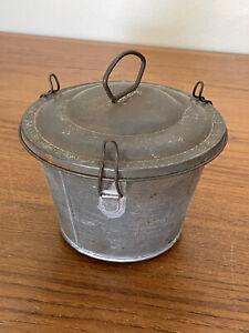 Vtg Antique Tin Pudding Mold w Lid Steamer Cake Pan Primitive Farmhouse Decor