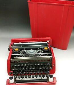 Olivetti Valentine Typewriter w/ Case Red RARE Vintage Untested Fedex Used