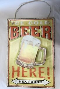 Tin Sign Beer Here (192-3107)