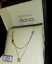 Collana girocollo veneziana e punto luce con zircone in oro giallo 750 18 kt new