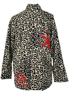 PINKO ANIMAL PRINT 'LOVE TO THE MOON' COTTON JACKET, IT 40, $785