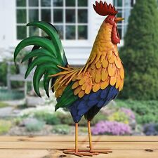 Metal Rooster Lawn Ornament Garden Statue Farm Yard Deck Patio Country Realistic