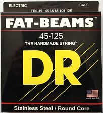DR FB5-45 Fat Beams BASS Guitar Strings stainless steel round core 45-125
