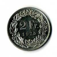 Moneda Suiza 1975 2 francos suizos coin Helvetia