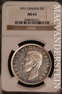 Canada: 1951 One Dollar - Silver  NGC MS 63 - Brilliant Uncirculated  #SLN129