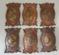 More details for curious handmade art nouveau copper and brass embellishments, finger plates?