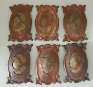 Curious handmade Art Nouveau copper and brass embellishments, finger plates?